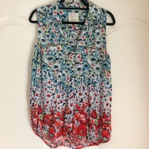 Anthropologie Sleeveless Collared Floral Blouse L